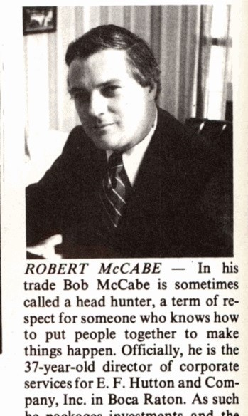 Bob McCabe was featured in a 1976 issue of Gold Coast on young people on the move.